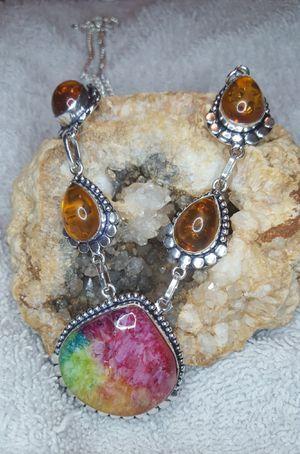 Beautiful Rainbow Solar Quartz and Amber Gemstone Necklace for Sale in Newport, TN