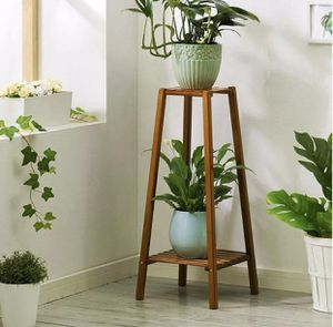New 2-Tier Bamboo Plant Stand Pot Holder Tall Table Garden Planter, Brown for Sale in Chino Hills, CA