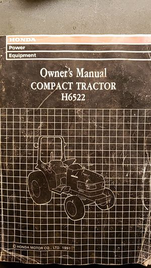 Honda H6522 Compact Tractor Owner Manual for Sale in PA, US