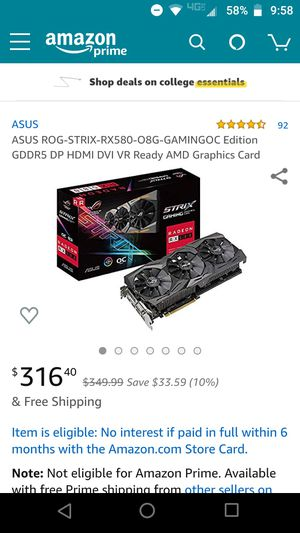ASUS ROG STRIX RX580 8GB GAMING OC Edition for Sale in Federal Way, WA