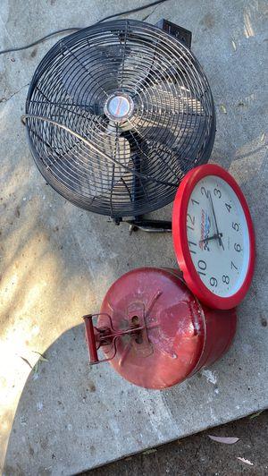 Fan,antique clock, full tank for Sale in Murrieta, CA