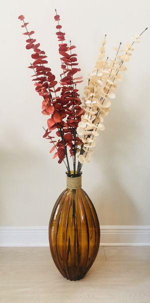 Tall Floor Standing Glass Vase with Artificial Floral Arrangement—-New for Sale in Miami, FL