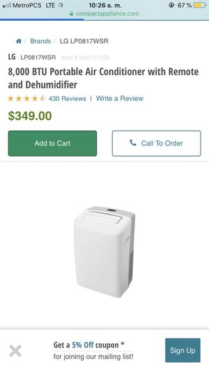 LG 8,000 BTU Portable Air Conditioner with Remote and Dehumidifier for Sale in Phoenix, AZ