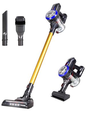 D18 Lightweight Cordless Stick Vacuum Cleaner, 9000pa Powerful Suction Bagless Rechargeable 2 in 1 Handheld Car Vacuum with Mini Motorized Brush, Gold for Sale in Springfield, VA