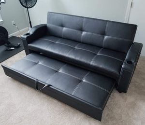 (Costumer preview) 30% OFF Brand New Black Leather with White Stitching Adjustable Futon Bed for Sale in Charlotte, NC