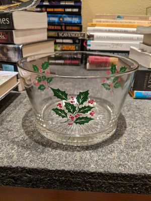 Holiday bowl with holly motif for Sale in Sammamish, WA