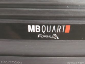 car amplifier : MB QUART 2000 watts Monoblock 1 Ohm Stable Built In crossover With Bass Control 30a×3 fuses for Sale in Downey,  CA