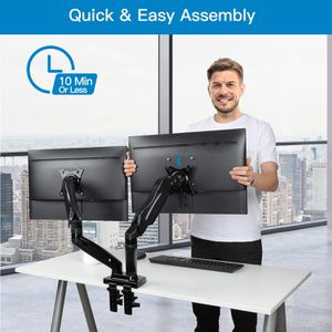 Dual arm monitor stand adjustable desk mount with swivel up to 27 inch computer screen black new for Sale in San Bernardino, CA