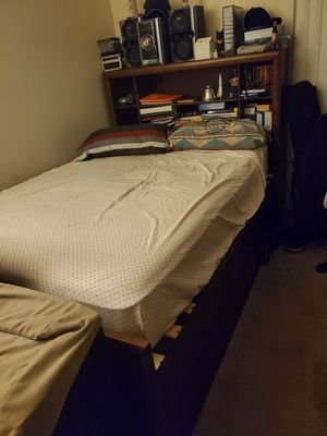 Wooden bed frame with head piece. Entire set ! Mattress included for Sale in Chino, CA