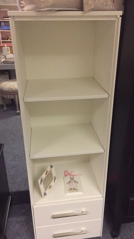 Narrow wood white bookcase