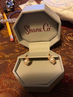 7.5mm Freshwater Pearl & Round Diamond Earrings for Sale in West Linn, OR