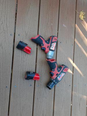 Milwaukee drill gun and impact gun 2 batterys for Sale in Lynn, MA