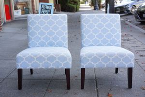 """#100410 Pair of Armless Baby Blue Chairs 25"""" Wide x 28"""" Deep x 34"""" Tall for Sale in Oakland, CA"""