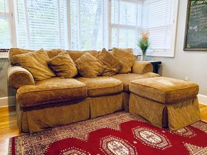 Gold couch with matching footstool for Sale in Annandale, VA