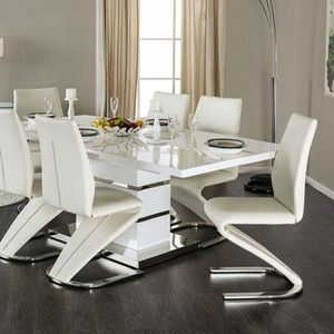 Z-Shaped Chair Base white High Gloss Lacquer Coating 7 piece DINING TABLE ST for Sale in Riverside, CA