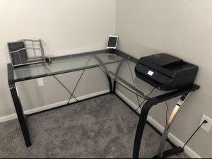 Black Metal Glass Corner Desk for Sale in Biscayne Park, FL