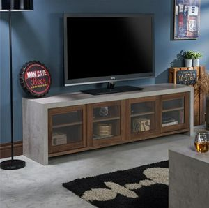 """Industrial 71"""" TV Stand in Cement and Walnut Finish for Sale in Chino, CA"""