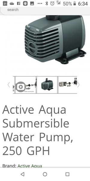 Active Aqua Submersible Water Pump, 250 GPH for Sale in Mabelvale, AR