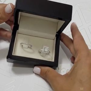 925 Sterling Silver Engagement/ Wedding Cushion Style Diamond Ring Set for Sale in Baltimore, MD