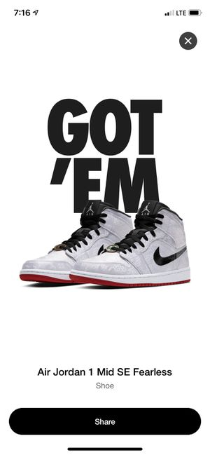 Air Jordan 1 Mid fearless Edison chin size 11.5 NEW Firm$$ 🎄🎁 in hand. Meet at the Rite Aid in Renton on North East 12th and Sunset Boulevard. for Sale in Renton, WA