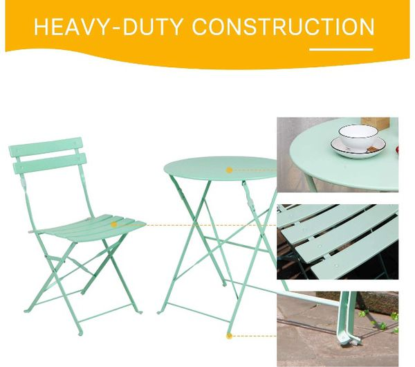 💥BRAND NEW 3pc Metal Folding Bistro Set, 2 Chairs and 1 Table, Weather-Resistant Outdoor/Indoor Conversation Set for Patio, Yard, Garden-Macaron Blue