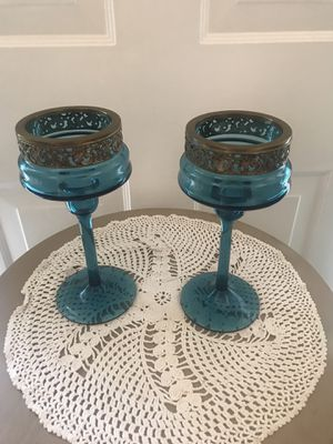 Blue Glass and Brass Top Design Candle Holder's for Sale in Stroudsburg, PA