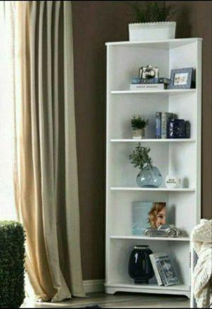 White finish wood corner bookcase shelf unit for Sale in Diamond Bar, CA