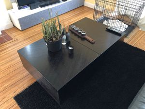 Modern espresso coffee table with built-in storage for Sale in San Francisco, CA