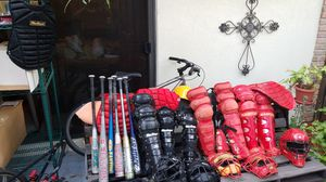 All baseball equipment..gloves, bats, 2 sets of catcher equipment adult and child in black and red for Sale in Delray Beach, FL