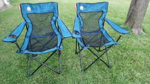 NEW 2 Blue and Black Mesh Folding Chairs for Sale in St. Louis, MO