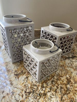 Set of 3 home decor candle holders, ceramic for Sale in Phoenix, AZ