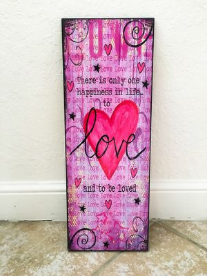 Love Life Happiness Hearts Stars Swirls Moulin Rouge Inspirational Quote Romantic Romance Cute Red Pink Purple Sweet Couples Wooden Wall Art for Sale in West Palm Beach, FL