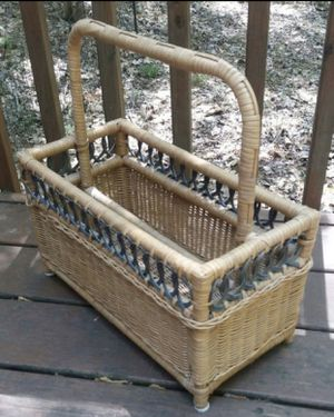 Vintage Wicker Rattan Bamboo Basket Magazine Holder Storage Rack Organizer for Sale in Chapel Hill, NC
