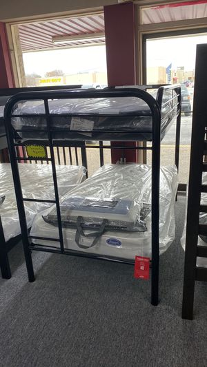 Black Metal Bunkbed Twin over Twin Size Bunk Bed Only U607L for Sale in Euless, TX