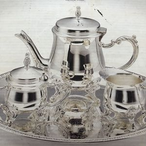 Silver Plated 4 Piece Coffee Tea Set for Sale in Fontana, CA