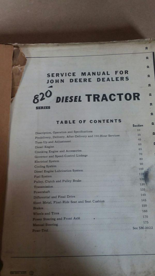 John deer Tractor manual 820