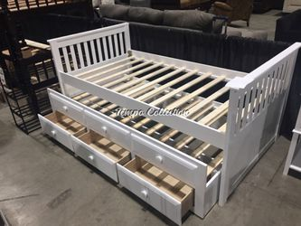 Twin Captain Bed with Trundle and Drawers, White, SKU# MLT7590WHTC for Sale in Santa Fe Springs,  CA