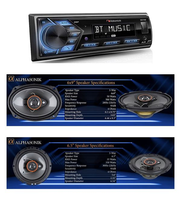 BUNDLES Nakamichi NQ711B Built-in Bluetooth Hands-Free Calling Music Streaming USB AUX Inputs Detachable Face Car Digital Media MP3 Player Stereo Rec