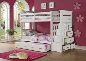White twin over twin bunk bed with trundle drawers and stairway for Sale in Downey, CA