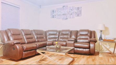 Leather Sofa Set ( W/ 2 Mirror Table) for Sale in West Jordan,  UT