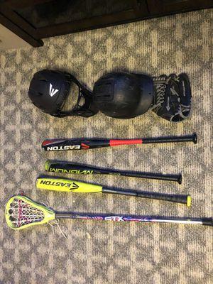 Baseball bag,bats,lacrosse stick,catchers helmet,baseball helmet,and glove for Sale in Bel Air South, MD
