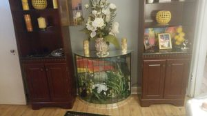 Bookcases nice dark brown with glass shelves and bottom storage for Sale in Memphis, TN