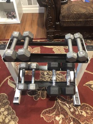 Dumbbells with dumbbell holder for Sale in Lakewood, CO