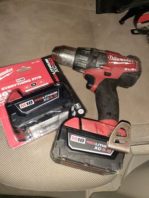 Milwaukee fuel M18 Brushless drill with 2 new 5.0 batteries have box for other one for Sale in Iron Station, NC