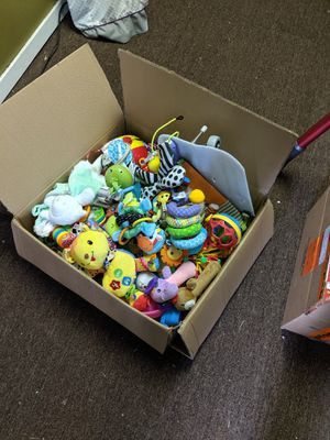 Box of baby toys: rattles, stuffed animals for Sale in Seattle, WA