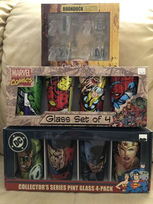 Marvel and DC comic pint glass sets. Also Shot glass set. for Sale in Dearborn, MI