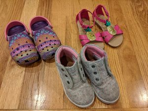 Girls size 7 shoe lot -- Tom's, Crocs, and pineapple sandals for Sale in Redmond, WA