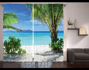 Palm Tree Curtains 108 x 84 Beach Ocean Backdrop Living Bed Room Decor Window Patio Door Tropical for Sale in Orlando, FL