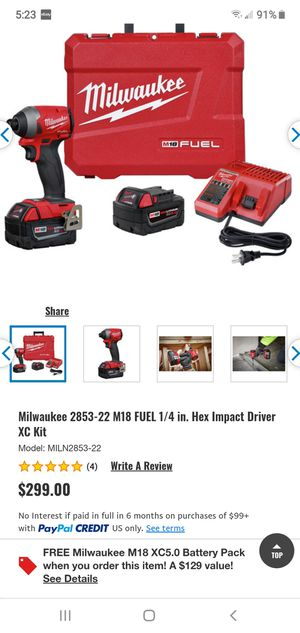 "Milwaukee fuel brushless 1/4"" hex impact driver for Sale in Fresno, CA"