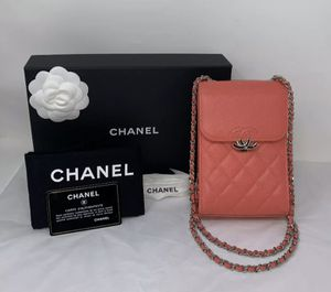 CHANEL Bag Crossbody Clutch 2Way Chain Grained Leather Silver HW Pink WOC NEW ❤️ for Sale in Corona, CA